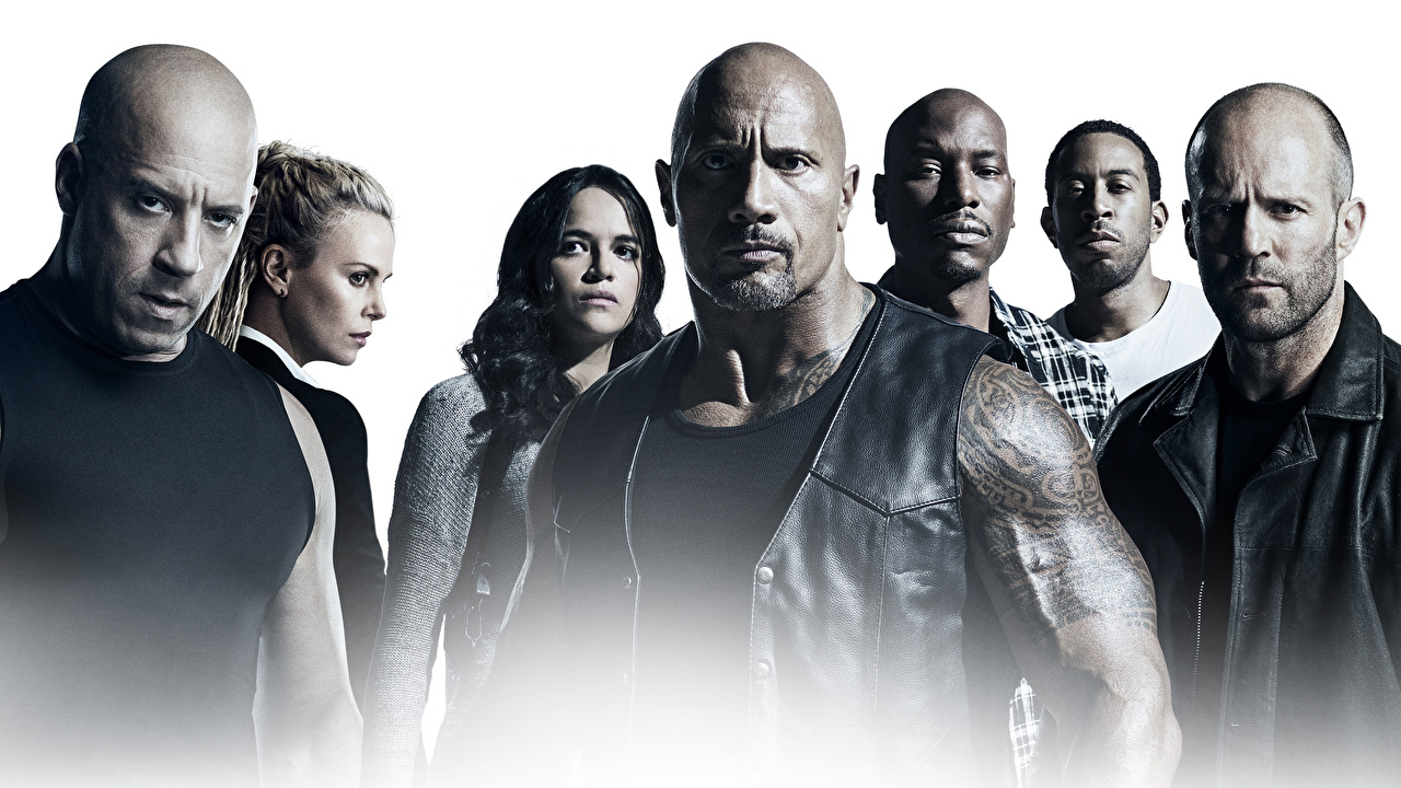 Photo The Fate of the Furious Vin Diesel Jason Statham Dwayne Johnson Michelle Rodriguez Men film Celebrities White background Fast & Furious 8 Man Movies