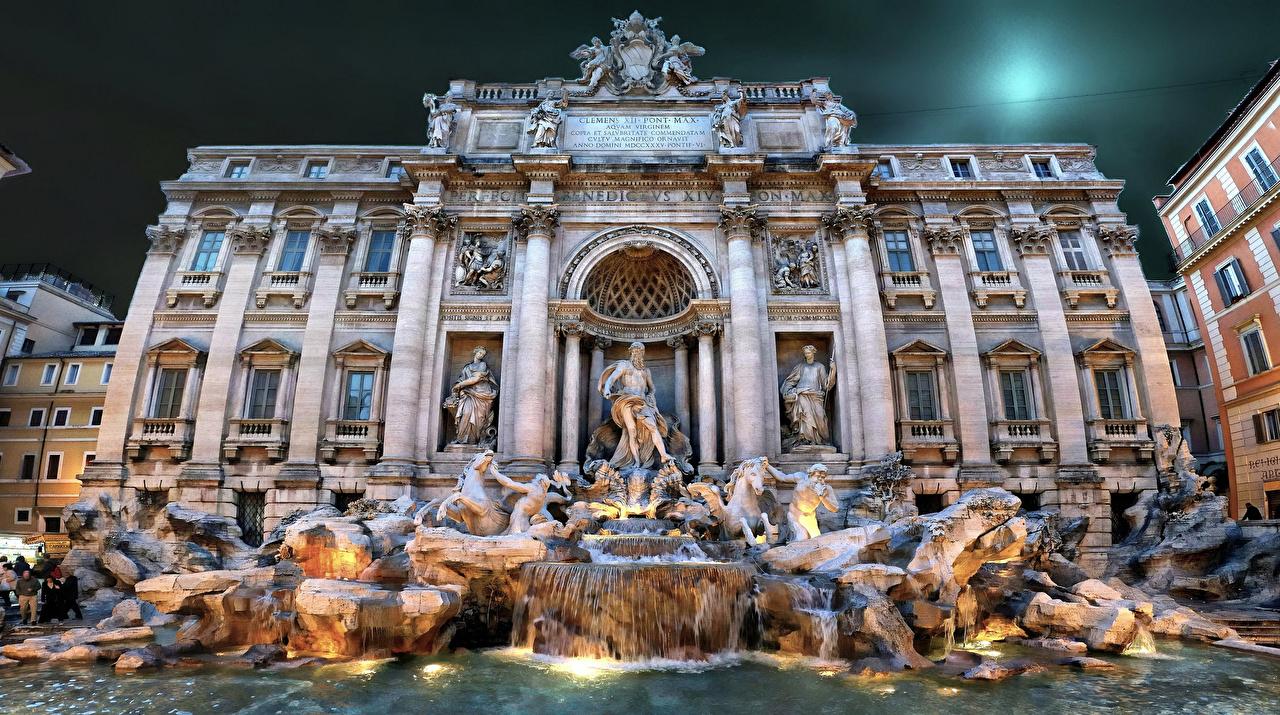 Italie Fontaine Maison Rome Bâtiment Villes