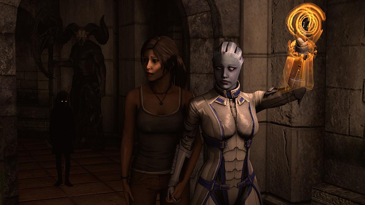 Photo Liara Mass Effect Tomb Raider Lara Croft Aliens 2 Girls Fantasy Games Two female young woman vdeo game