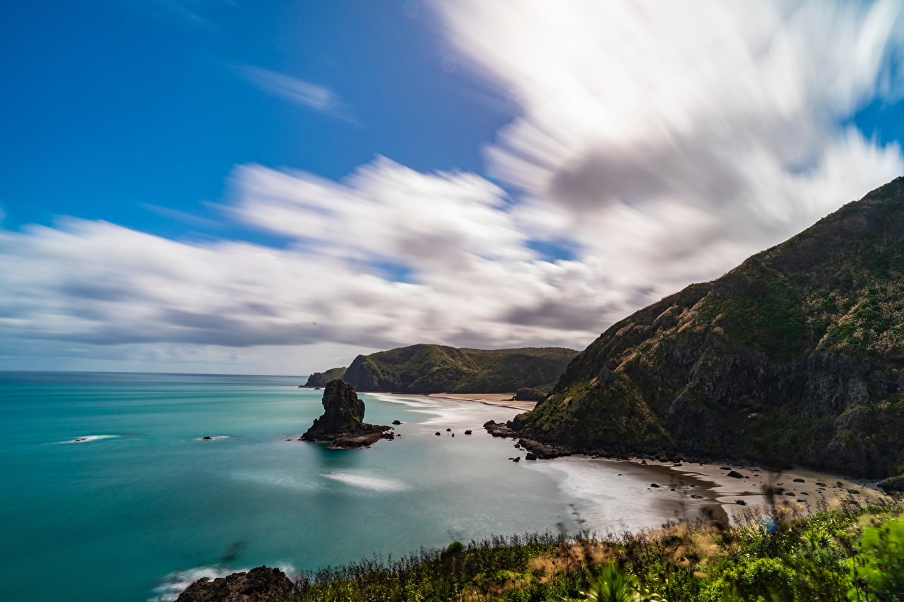 Images New Zealand Piha Beach Crag Nature Coast Clouds Rock Cliff