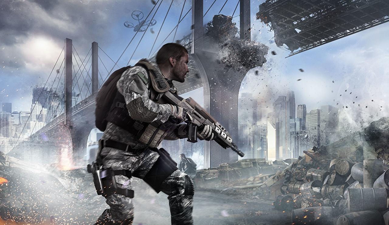 Pictures Call Of Duty Rifles Man Black Ops 2 Bridge 3d