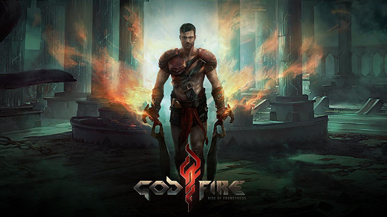 Desktop Wallpapers Men Warriors Godfire Rise of Prometheus Fantasy vdeo game Man warrior Games
