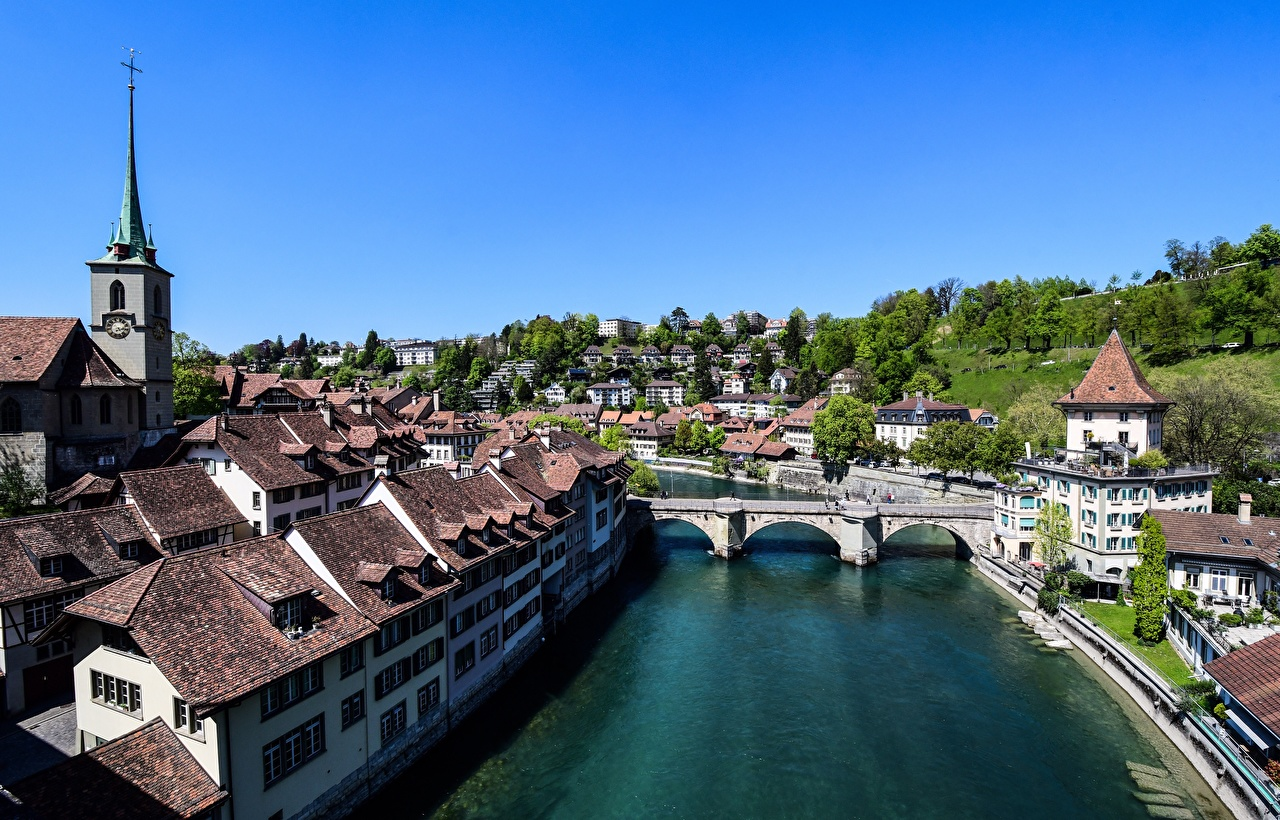 Wallpaper Bern Switzerland river Aare, Bern-Mittelland County Bridges Rivers Houses Cities bridge Building