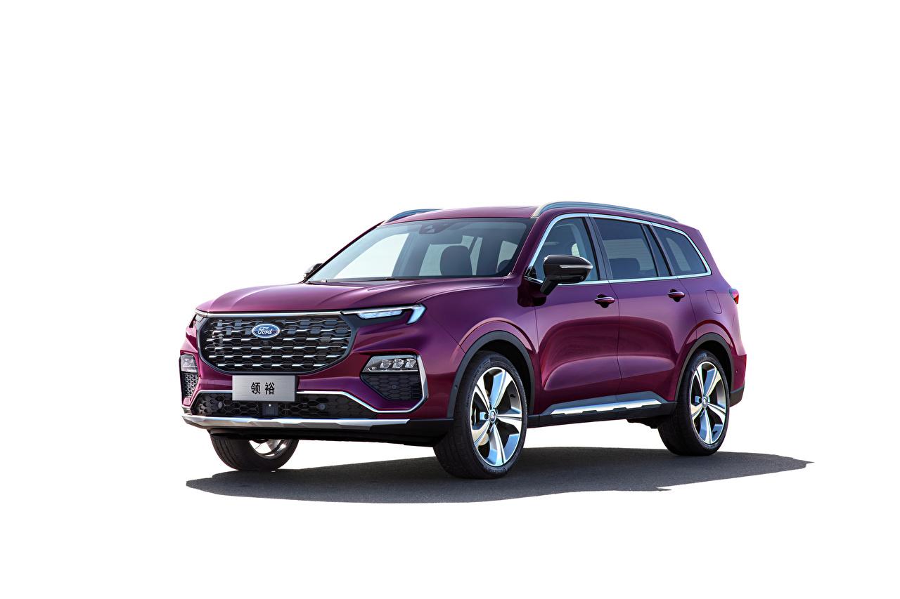 Desktop Hintergrundbilder Ford Softroader Equator Titanium, China, 2021 Violett Autos Metallisch Weißer hintergrund Crossover auto automobil