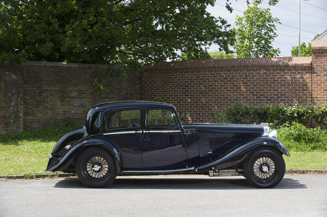 Picture Lagonda M45 Saloon, 1935 Black vintage Side automobile Retro antique Cars auto