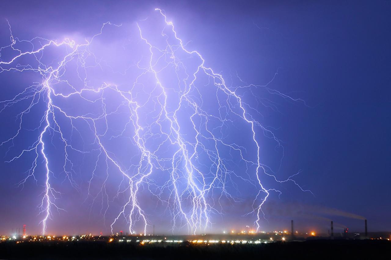 Wallpaper lightning bolts Nature Sky night time Lightning Night