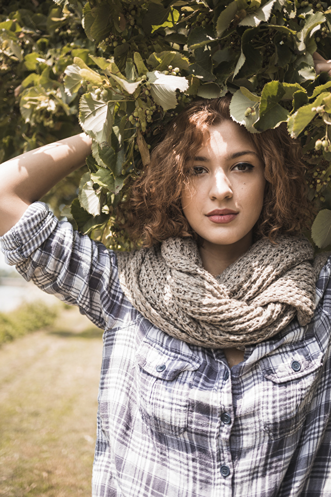 Foto Braune Haare Schal Mädchens Ast Starren Braunhaarige Blick