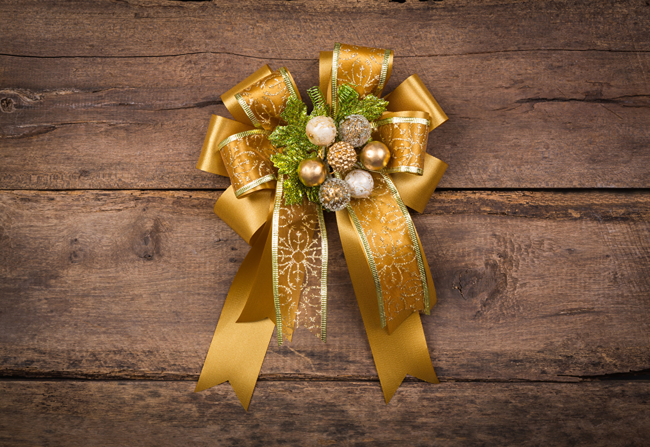 Photo Christmas Gold color Balls Bowknot boards Design New year bow knot Wood planks