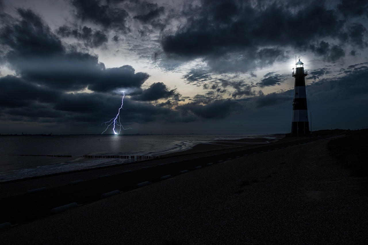 、海岸、灯台、空、夜、湾、雷、自然、