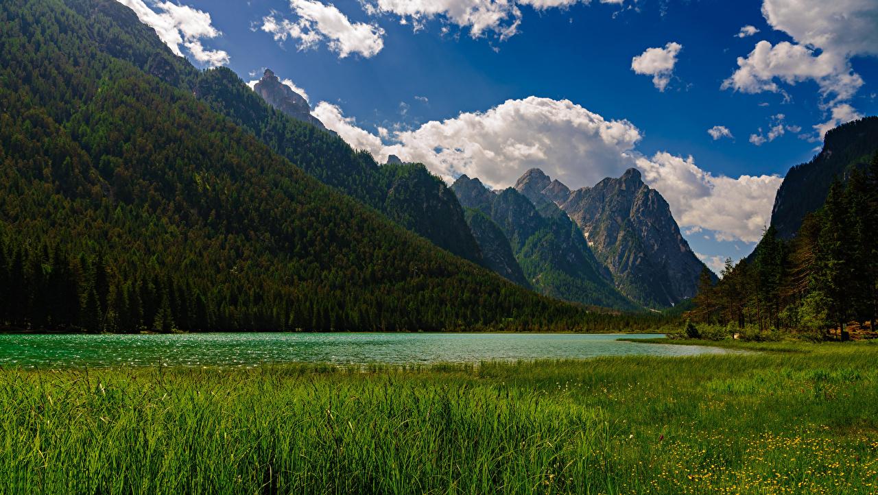 Desktop Hintergrundbilder Alpen Italien Lake Dobbiaco Natur Gebirge See Landschaftsfotografie Wolke Berg