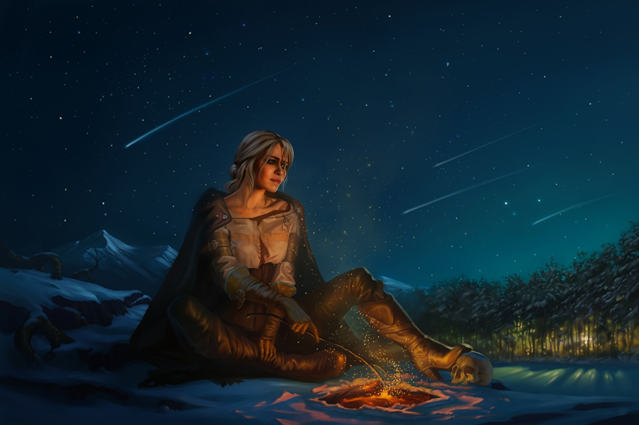 Picture young woman The Witcher 3: Wild Hunt Fanart Ciri or the Lion Cub of Cintra, Cirilla Fiona Elen Riannon Games Sky night time Bonfire Girls female Fan ART vdeo game Night