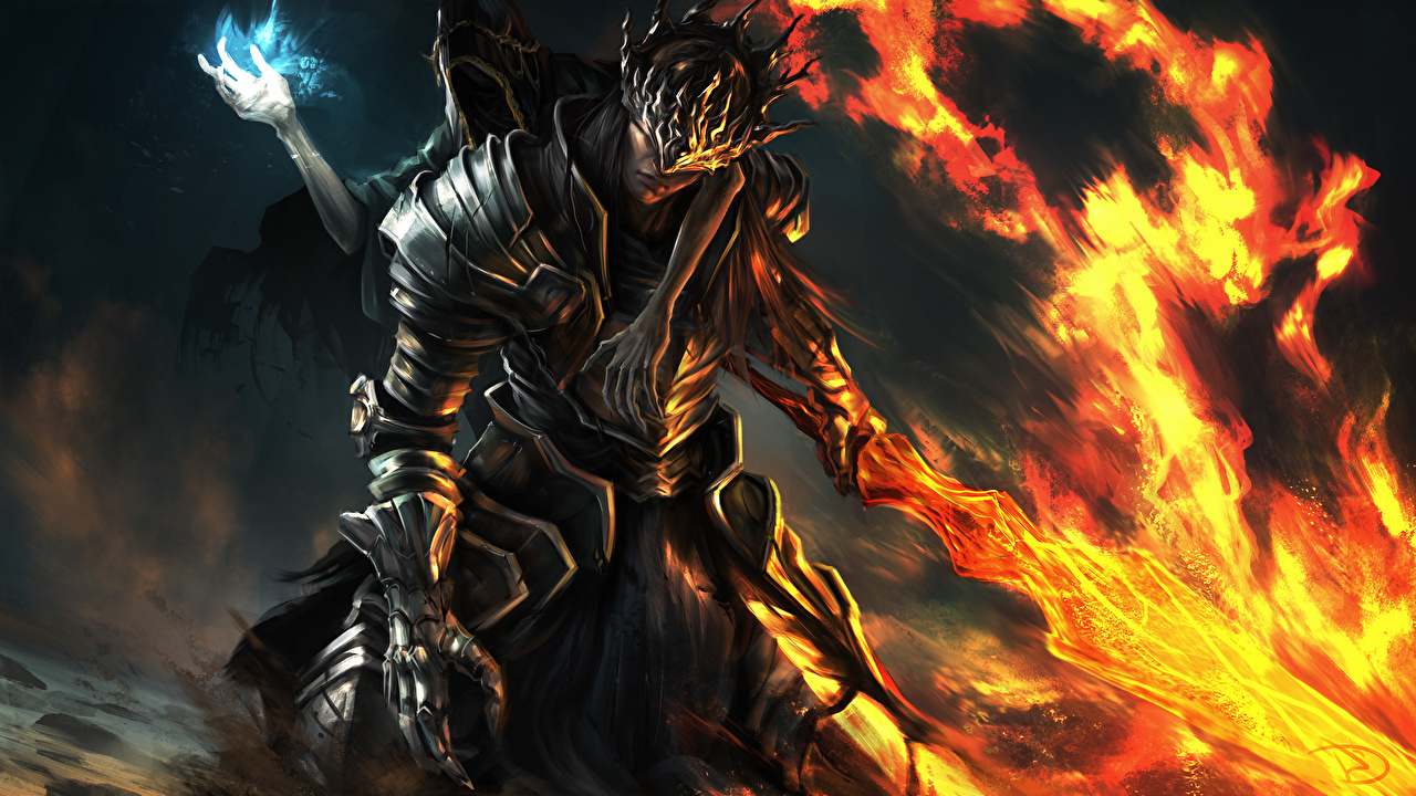Desktop Wallpapers Dark Souls Armor Swords Warriors Fan Art 3