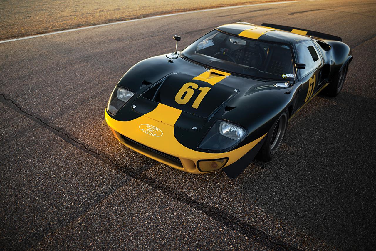 Photo Ford 1966 GT40 Le Mans Race Car Black vintage Cars Metallic Retro antique auto automobile