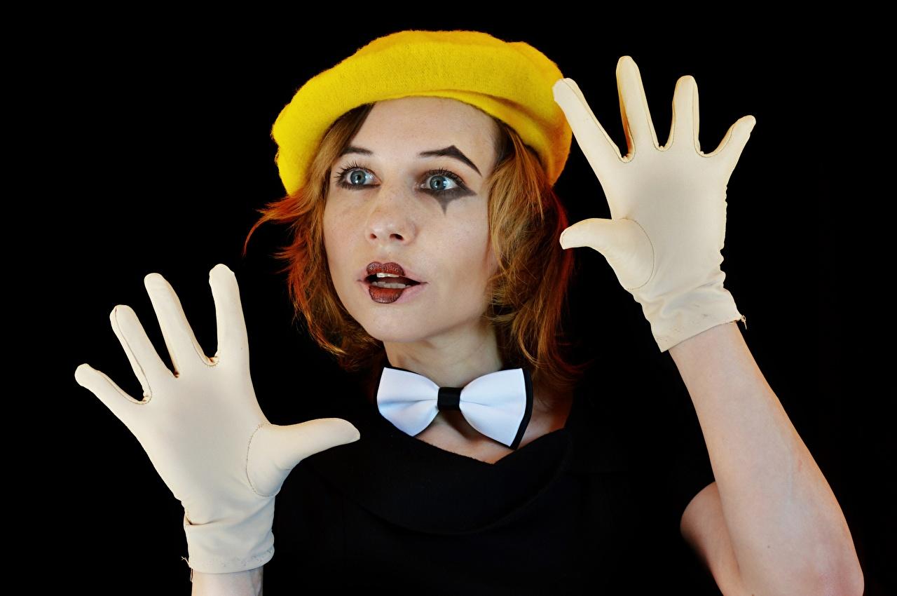 Wallpaper Redhead girl Glove Makeup Clown Victoria Borodinova, Mime artist Beret female Hands Bowknot Black background clowns Girls young woman bow knot
