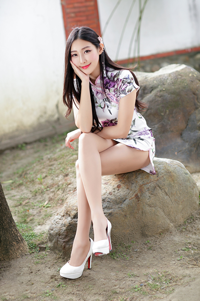 Photos Smile Beautiful Girls Legs Asian Sitting Staring Dress  for Mobile phone female young woman Asiatic sit Glance gown frock