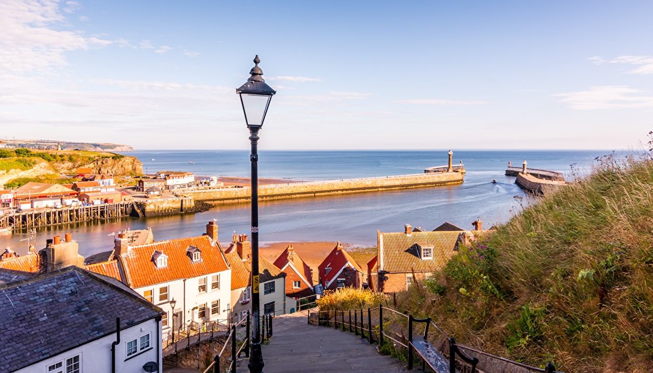 Pictures England Whitby, Yorkshire Stairs Grass Horizon Street lights Cities Building stairway staircase Houses