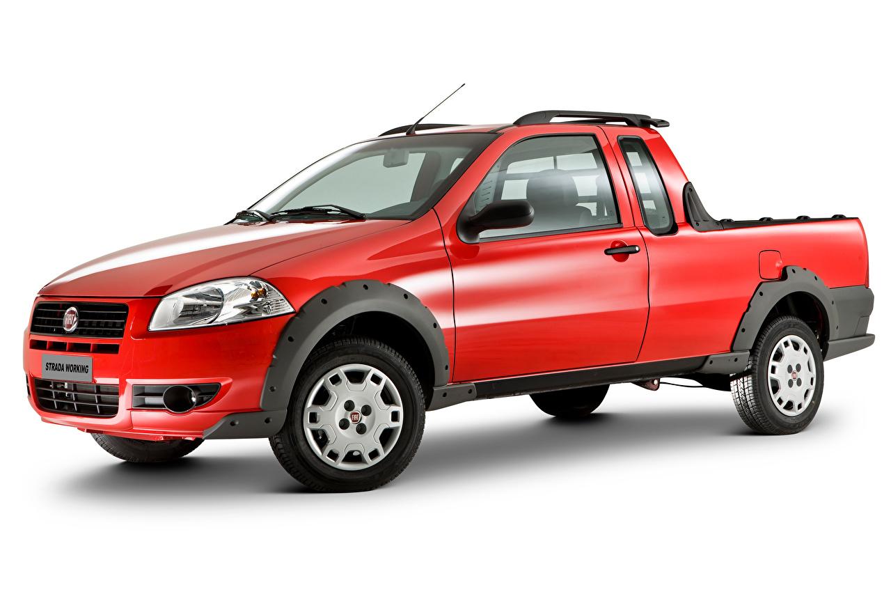 Foto Fiat Pick-up Rot auto Metallisch Weißer hintergrund Autos automobil