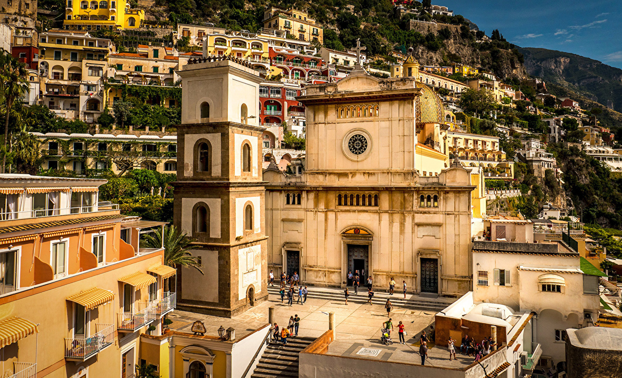 Image Cities Positano Italy Amalfi Coast Temples Houses temple Building