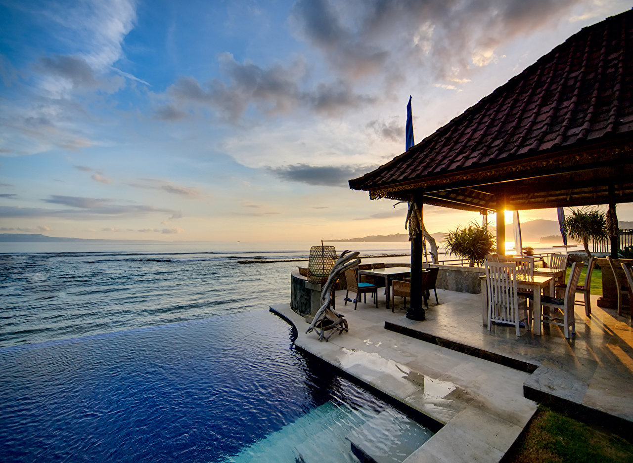 Photo Swimming bath Bungalow house sea view sunset Sea Nature Sky Building Pools Houses