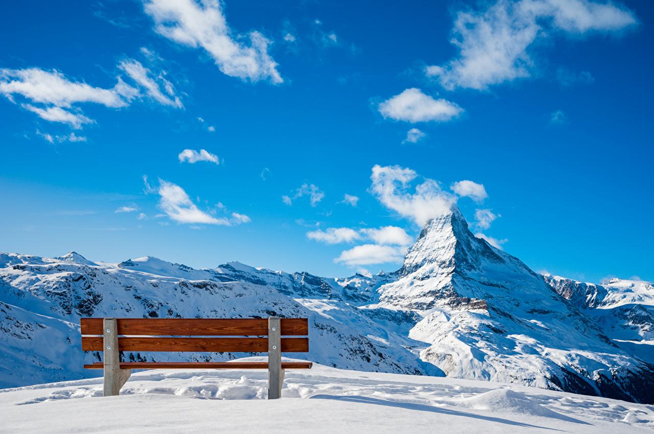 Photo Alps Switzerland Zermatt, Near Blauherd Nature mountain Sky Snow Bench Clouds Mountains