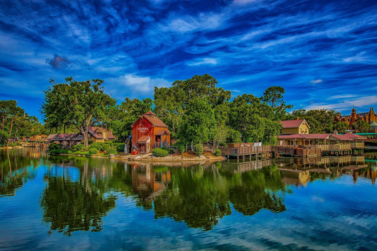 Foto Anaheim Kalifornien Disneyland Vereinigte Staaten Natur Park Teich Bäume Gebäude Design USA Haus