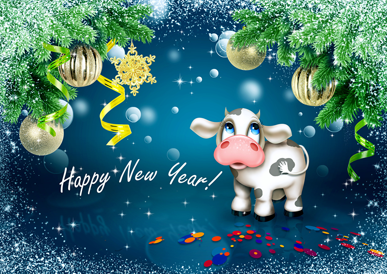 Images Cow New year English Snow Word - Lettering Balls Ribbon Branches cows Christmas text lettering