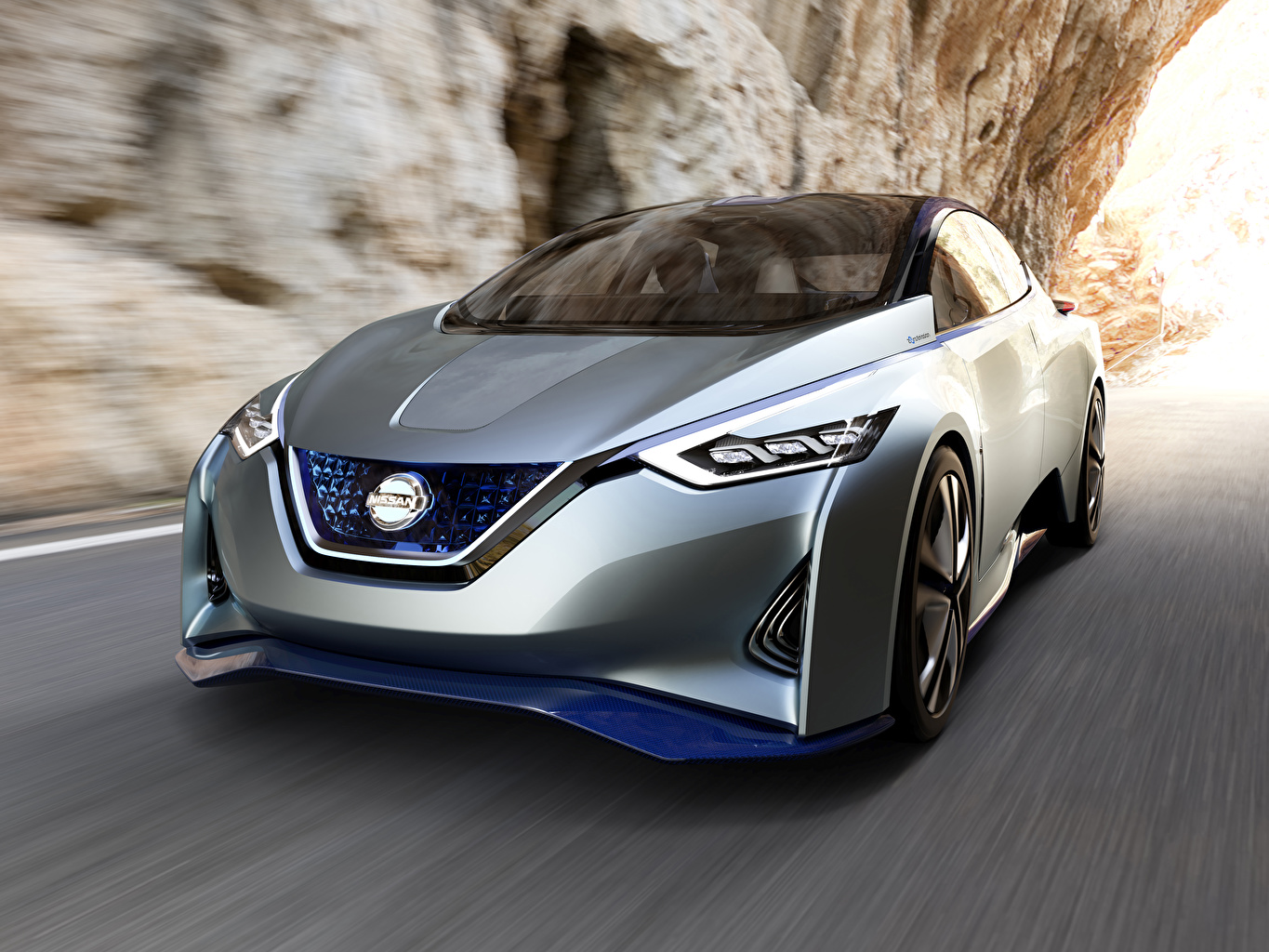 Pictures Nissan blurred background Silver color driving Metallic automobile Bokeh moving riding Motion at speed Cars auto