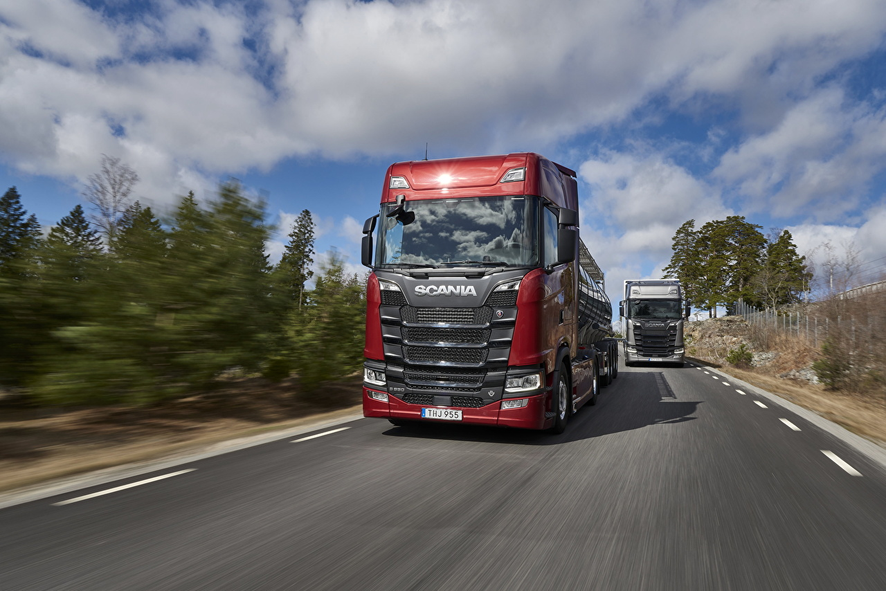Images Scania Trucks S 650 Red Motion Cars lorry moving riding driving at speed auto automobile