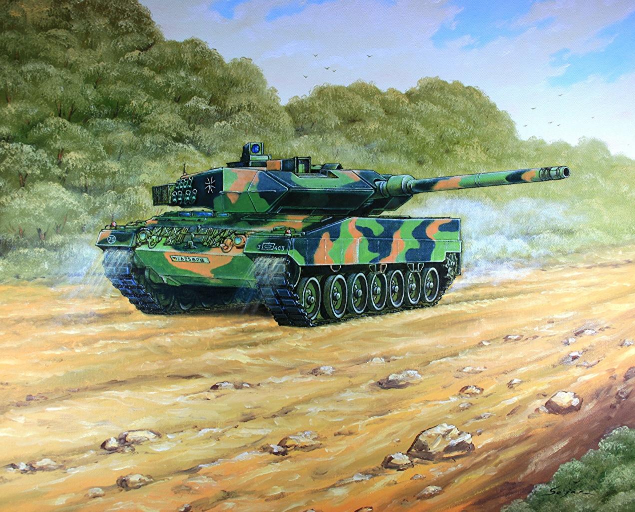 ,坦克,绘制壁纸,豹2型坦克,Leopard 2 A6,,陆军,
