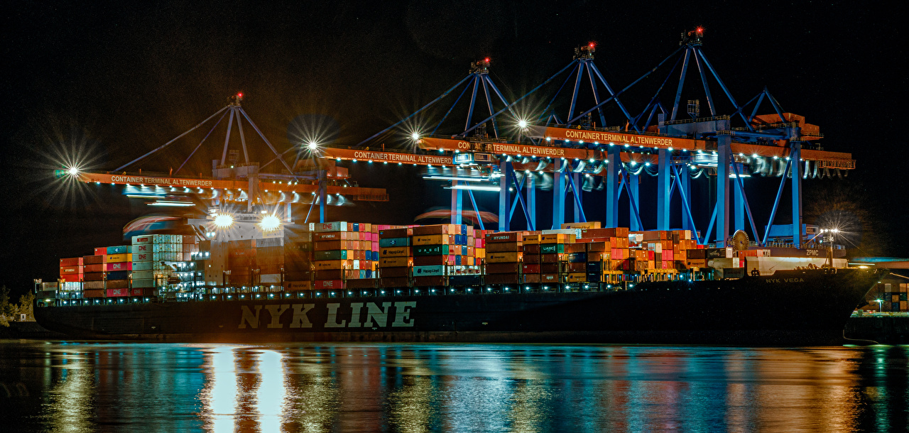 Desktop Wallpapers Hamburg Container ship Germany ship Marinas night time Street lights Cities Ships Pier Berth Night
