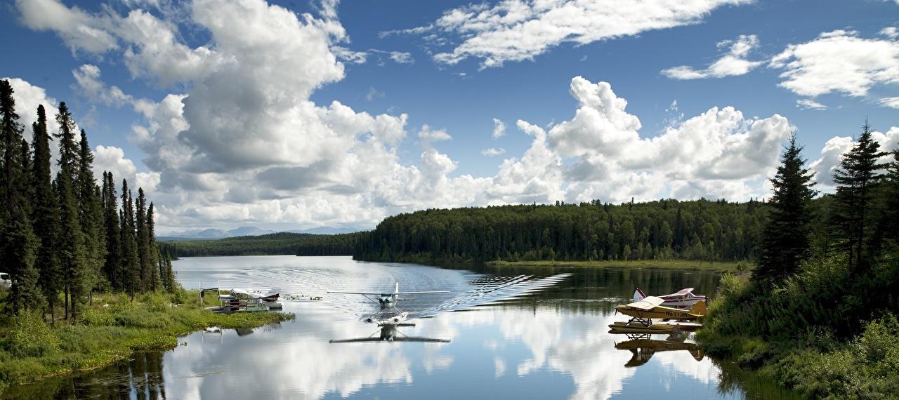 Photo Alaska Airplane USA Seaplane Fish lake Nature Lake Forests Aviation forest