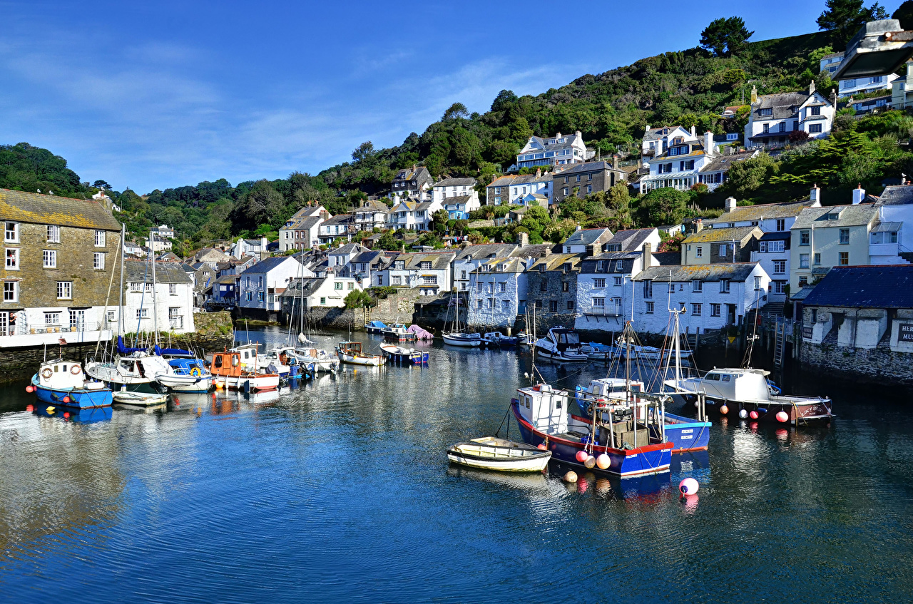 Picture England Polperro Cornwall Riverboat Pier river Boats Cities Building Berth Rivers Marinas Houses