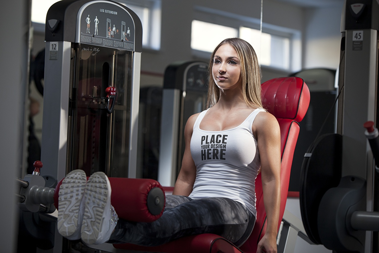 Pictures Brown haired Workout English Fitness Girls Legs Singlet Word - Lettering sit Physical exercise female young woman text lettering Sleeveless shirt Sitting