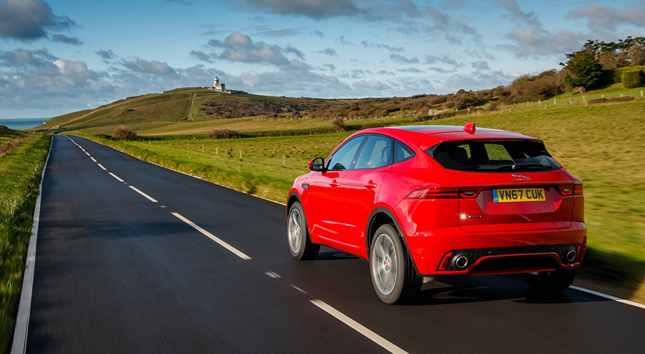 Images Jaguar CUV E-Pace, R-Dynamic, First Edition, UK-spec, 2017 Red Roads Back view automobile Crossover Cars auto