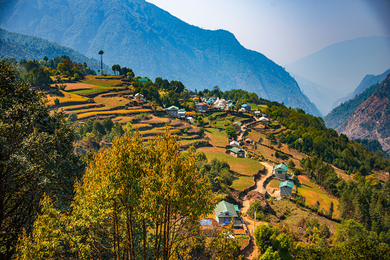 Desktop Wallpapers Nepal, Everest Region Nature Mountains Trees Houses mountain Building