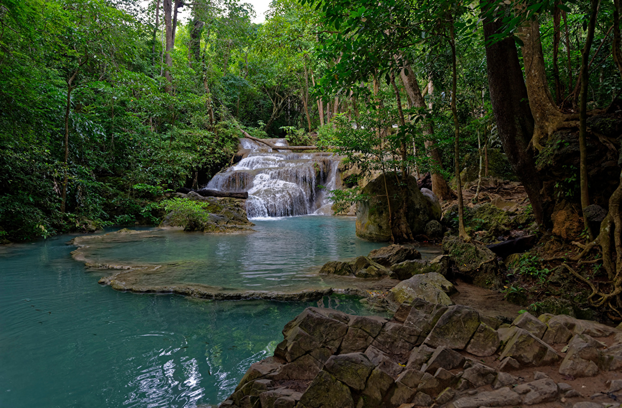 Pictures Thailand Erawan National park Creek Nature Waterfalls forest stone Trees brook Creeks Stream Streams Parks Forests Stones