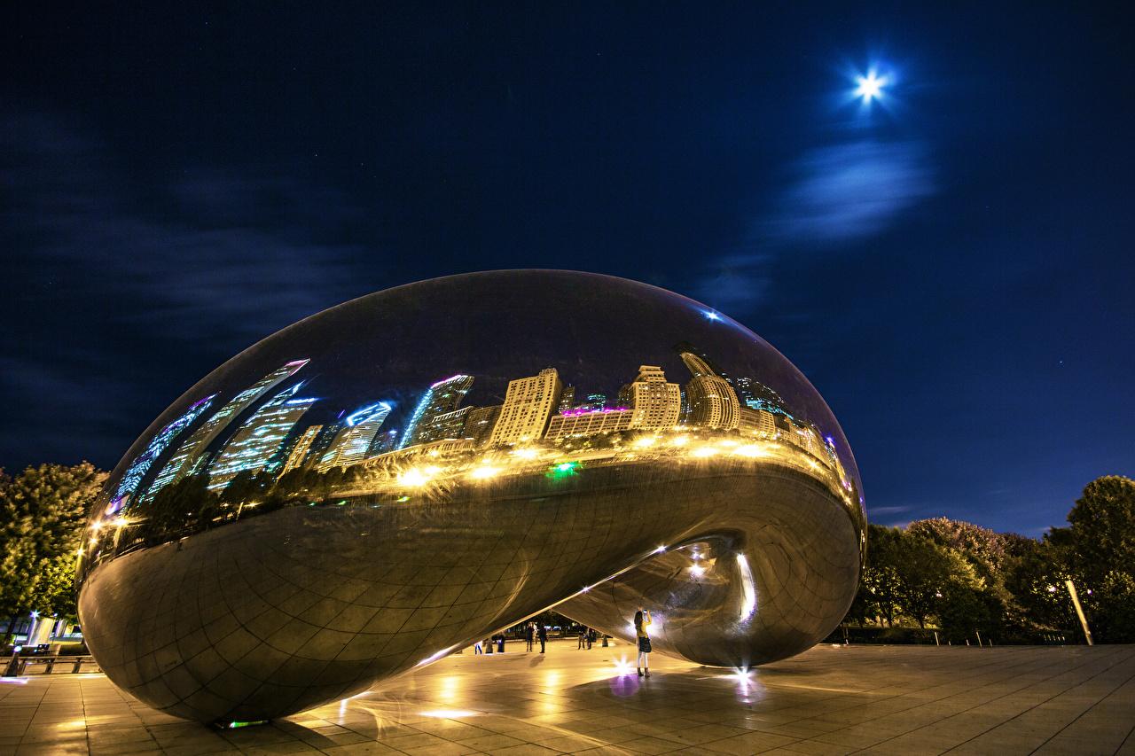 Photo Chicago city USA Parks Night Cities park night time