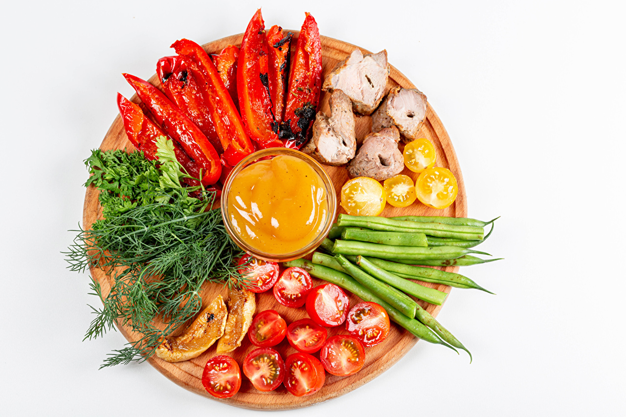 Image Shashlik Tomatoes Dill Food Vegetables Bell pepper Cutting board White background