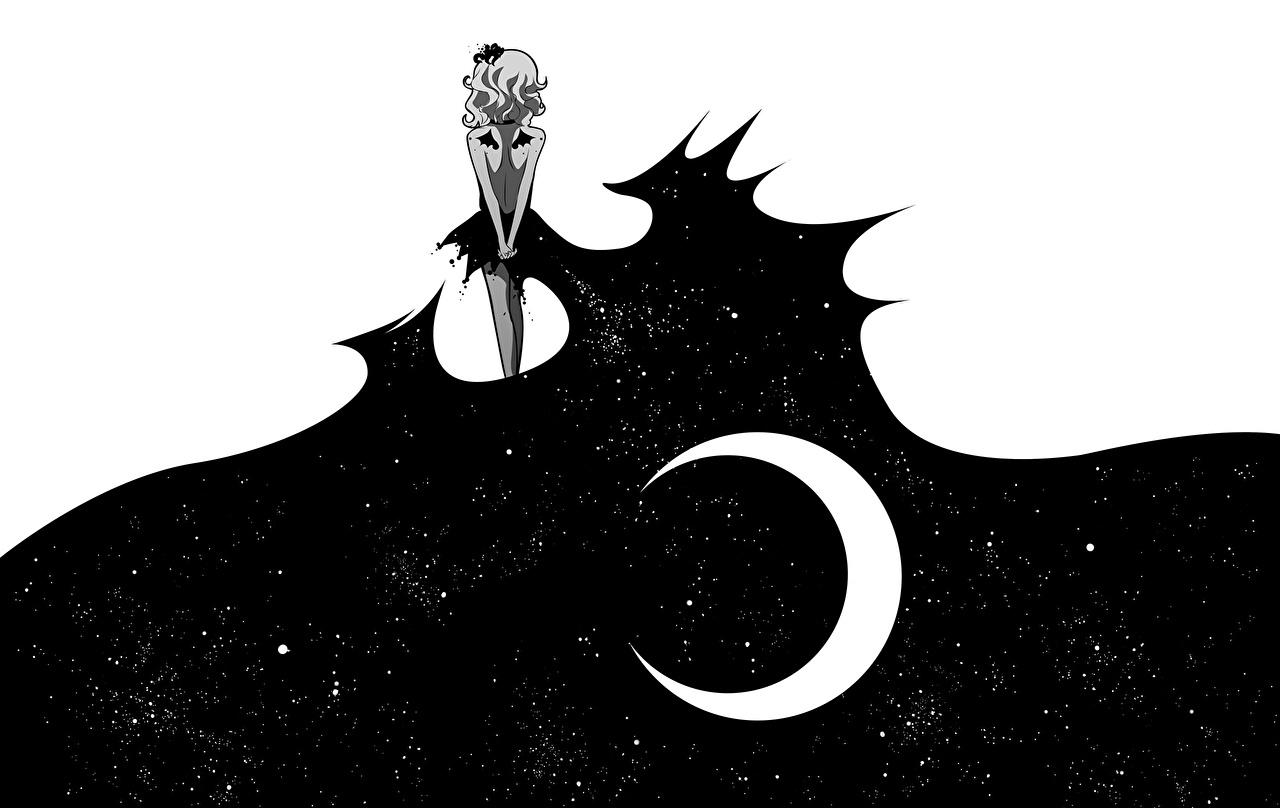 Fotos von Anime Mädchens Mond Halbmond Gezeichnet Vektorgrafik Mondsichel