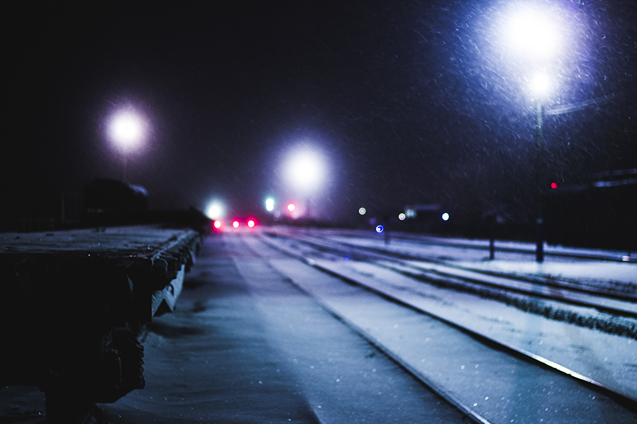 Pictures Winter Railroads night time Street lights Night