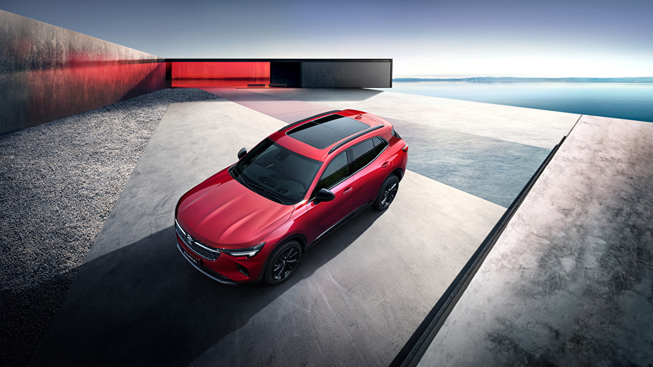 Images Buick Crossover 2020 Envision S Red Cars From above CUV auto automobile