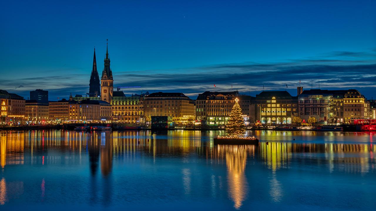 Photos Cities Hamburg Germany Christmas Night panoramic Houses New Year tree night time Panorama Building Christmas tree