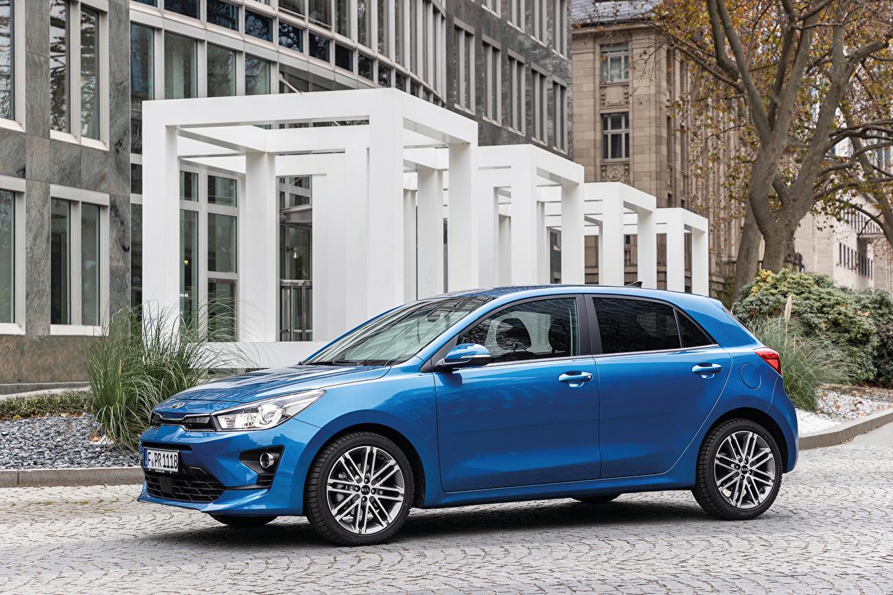 ,起亚汽车,Rio Worldwide, (YB), 2020,蓝色,金屬漆,側視圖,汽车,