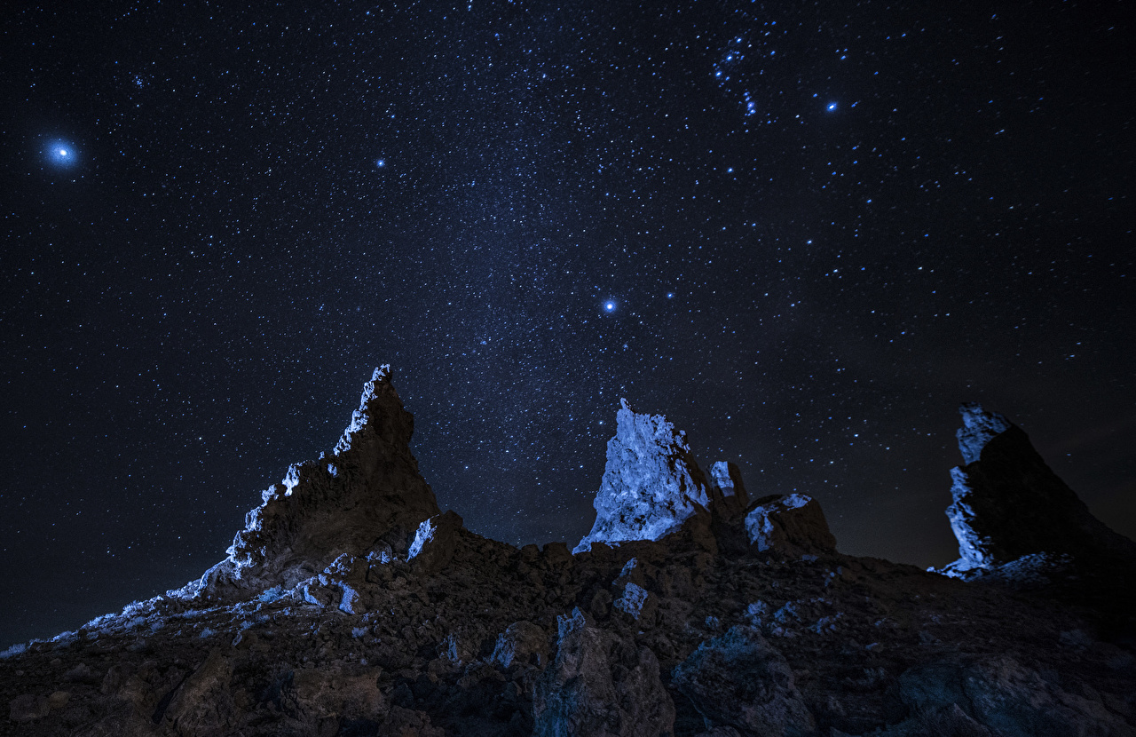 Images Stars Space Mountains Sky Night mountain night time