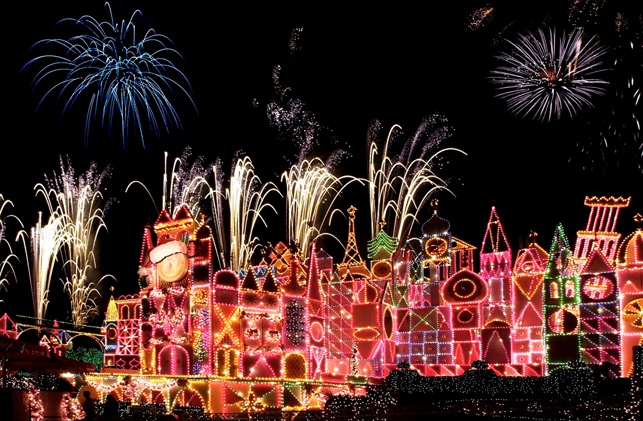 Wallpaper Anaheim California Disneyland USA Christmas Fireworks Parks Night Cities New year park night time