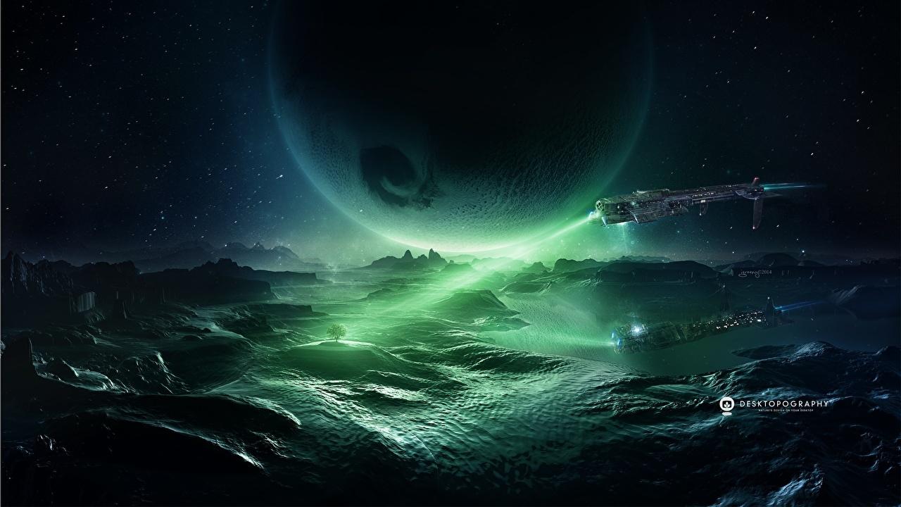 Картинки планета Поверхность планеты Космос Фэнтези корабль Фантастический мир Техника Фэнтези Планеты Фантастика Корабли фантастическая техника