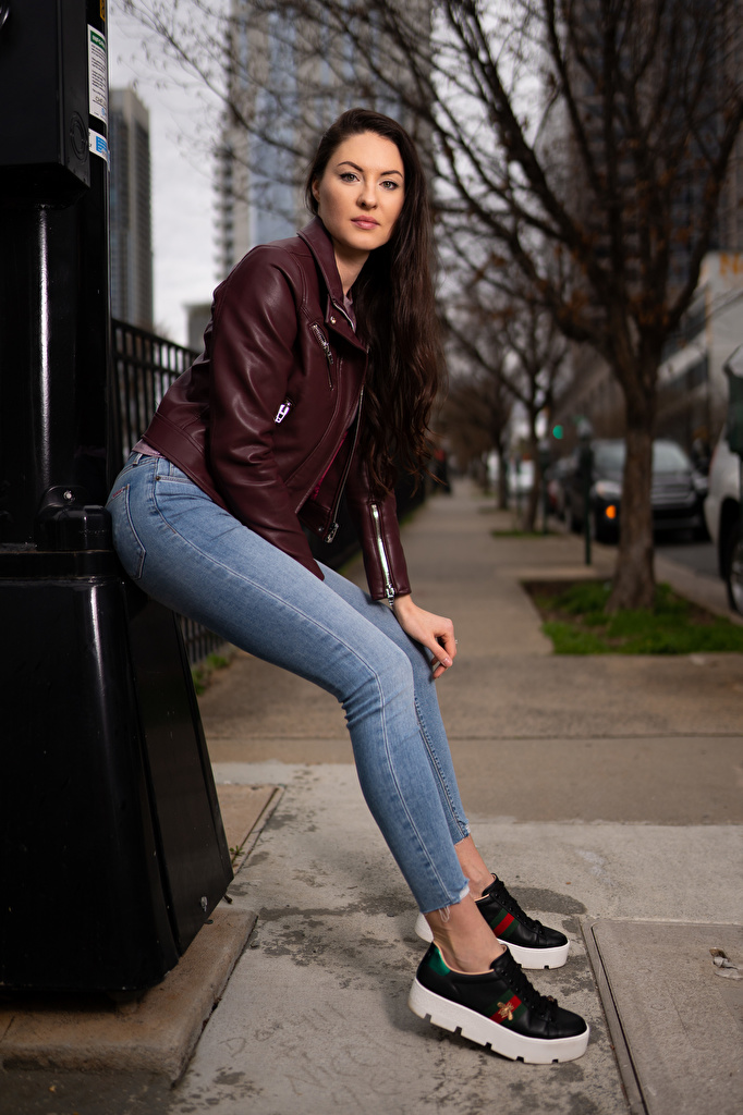Pictures Natalia Larioshina posing Girls Jacket Jeans Staring  for Mobile phone Pose female young woman Glance