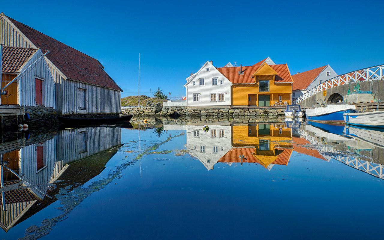 Image Norway Skudeneshavn, Rogaland Reflection Water Houses Cities reflected Building