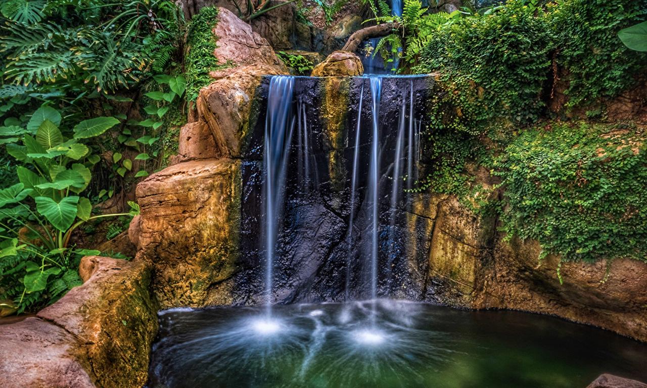 Wallpapers HDR Crag Nature Waterfalls Parks HDRI Rock Cliff