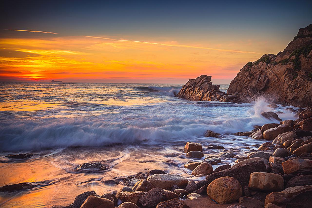 、朝焼けと日没、海岸、波、石、、自然、